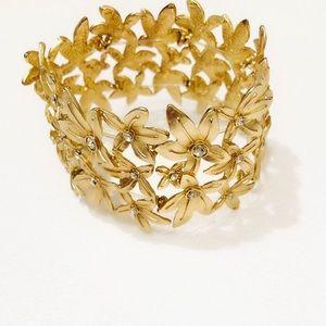 J. CREW golden flower bouquet bracelet